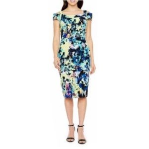 JCPenney Darian Abstract Pencil Sheath Midi Dress